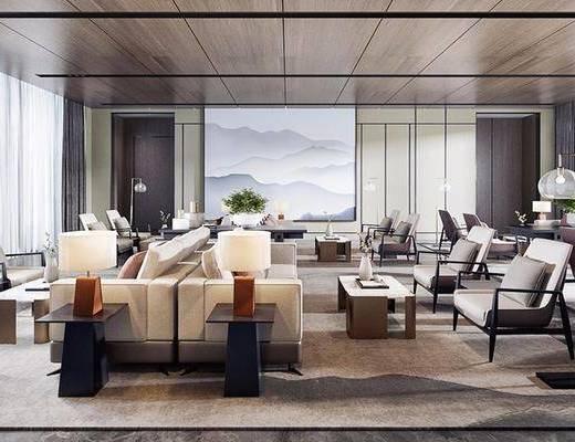 现代酒店, 酒店休息区, 休息区, 洽谈会客, 现代休息区