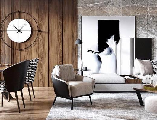 现代客厅, 客厅, 客厅餐厅, 沙发组合