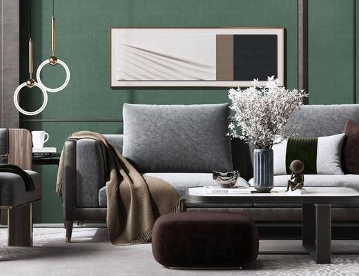 沙发组合, 吊灯, 茶几, 装饰画, 单椅, 边几
