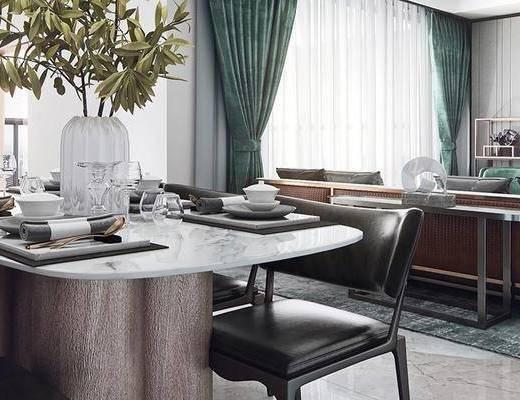 客厅, 沙发组合, 餐厅, 桌椅组合, 电视柜, 单椅