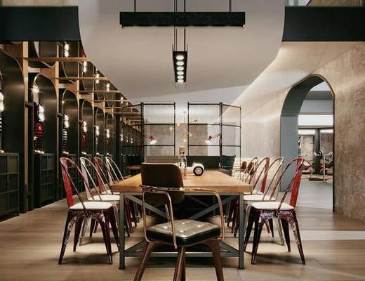 工业风休息区, 洽谈会客, 休息区, 桌椅组合