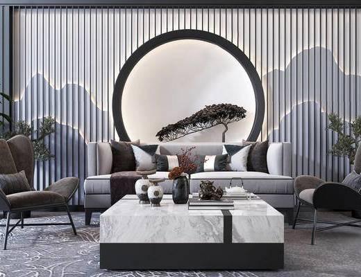 中式沙发, 沙发组合, 沙发