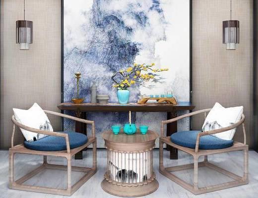 中式桌椅, 桌椅组合, 餐桌椅