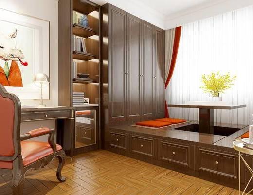 美式榻榻米, 卧室, 榻榻米, 美式卧室