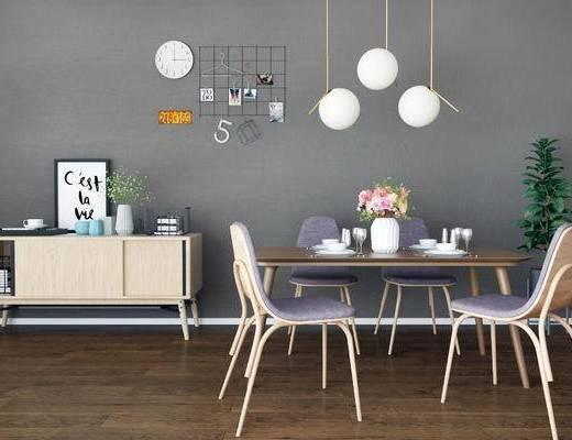 现代餐桌椅, 北欧餐桌椅, 餐桌椅, 桌椅组合
