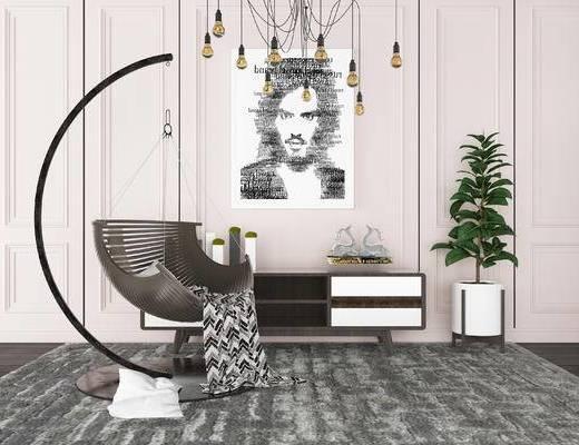 现代吊椅, 边柜组合, 现代边柜