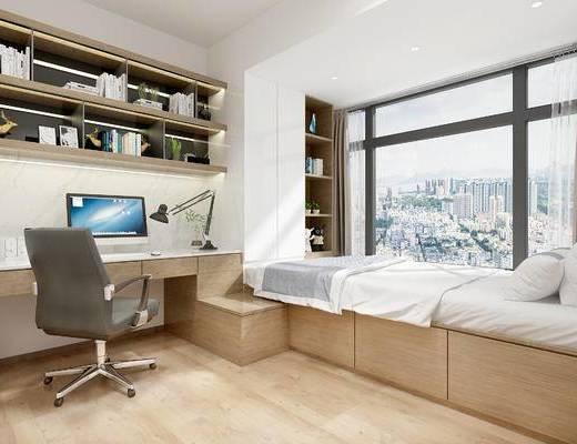 现代榻榻米, 榻榻米, 卧室, 现代卧室