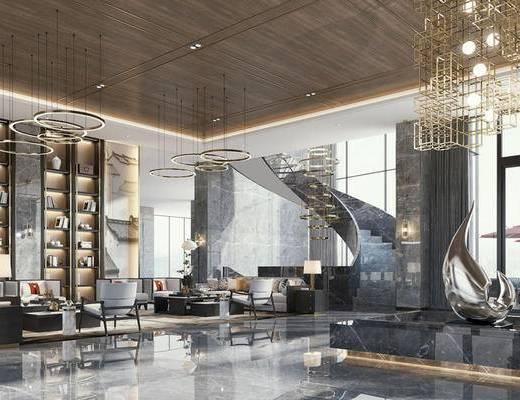 新中式酒店, 酒店大厅, 大堂大厅