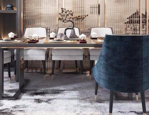 新中式桌椅, 桌椅組合, 餐桌椅