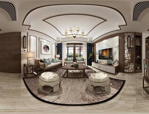 新中式客厅, 全景, 家装全景