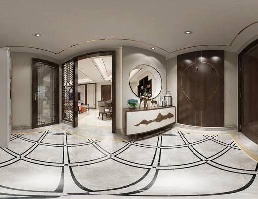 全景, 家装全景, 后现代客厅, 客厅入口