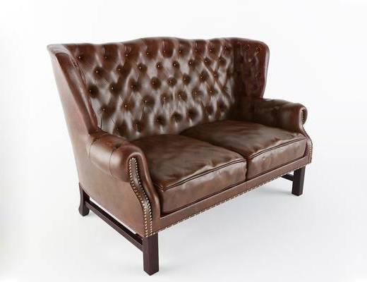 美式简约, 沙发, 美式沙发, 双人沙发