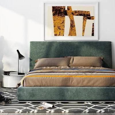 北欧简约, 床具UZ和, 台灯, 挂画, 植物盆栽