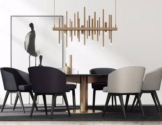北欧简约, 餐桌椅组合, 装饰画, 吊灯