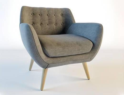 美式简约, 沙发, 单人沙发, 美式沙发