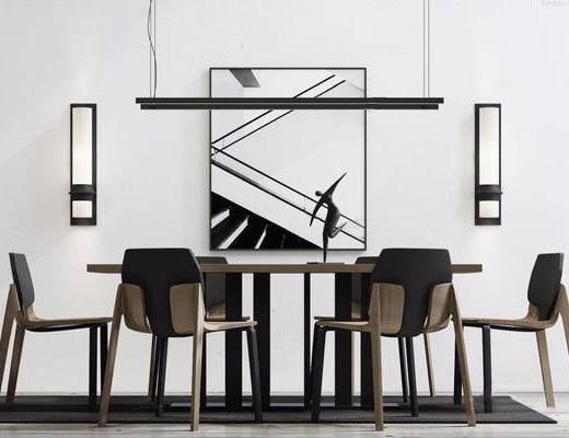 北欧简约, 桌椅组合, 吊灯, 陈设品, 壁灯