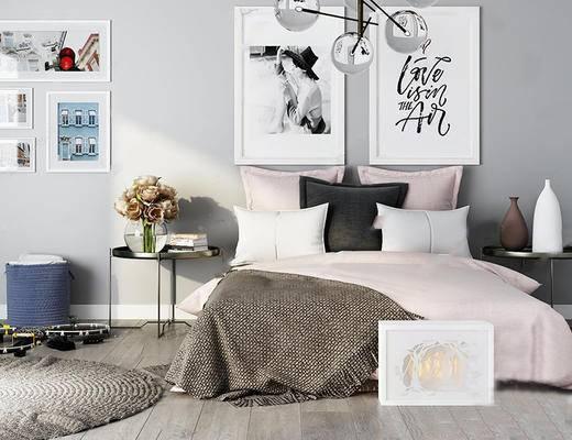 北欧简约, 床具组合, 边几, 吊灯, 陈设品组合