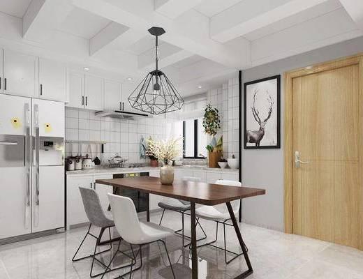 北欧简约, 厨房, 桌椅组合, 吊灯, 厨具组合