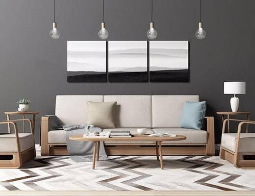 北欧简约, 沙发茶几UZ和, 吊灯, 挂画