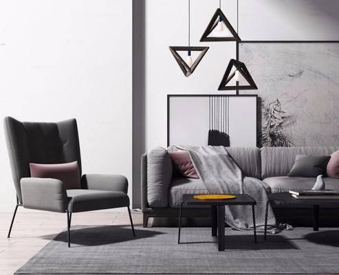 北欧简约, 沙发茶几组合, 吊灯, 装饰画