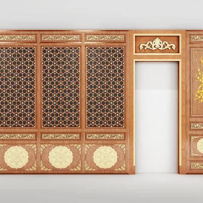 护墙板, 中式, 新中式, 墙板, 门, 构件