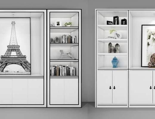 酒柜, 陈设品, 摆件, 书籍, 装饰画, 柜
