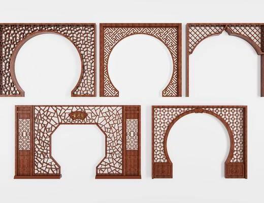 隔断, 门, 拱门, 中式, 新中式, 构件