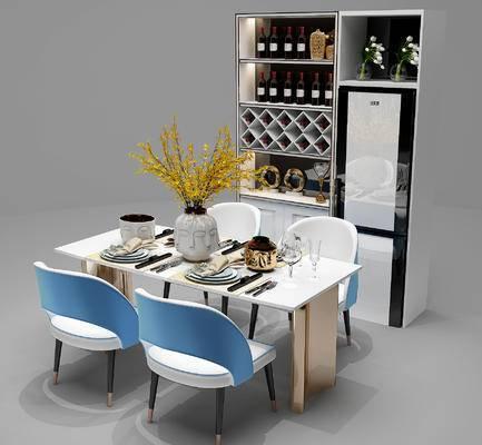 餐桌椅, 桌椅组合, 桌子, 椅子, 餐具, 酒柜