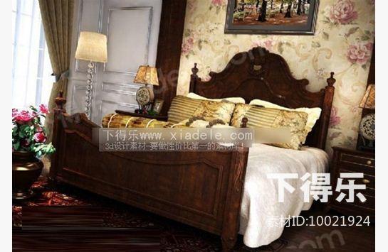 欧式木质平板床 3d模型下载