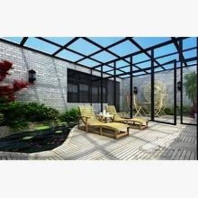 阳台, 露台, 水池, 现代, 躺椅, 盆栽
