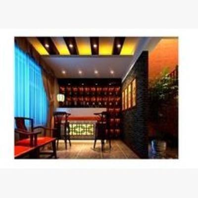 中式, 酒吧, 单椅, 吧椅, 置物柜, 盆栽, 酒柜, 酒水, 窗帘