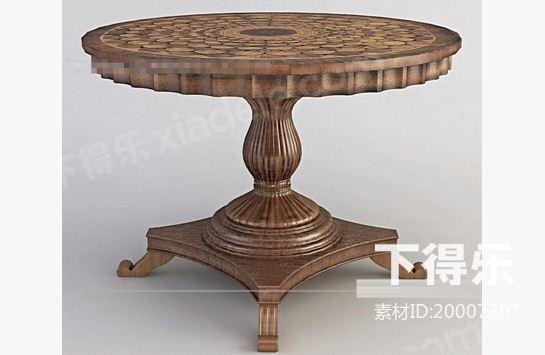 欧式木质餐桌 3d模型下载,桌子
