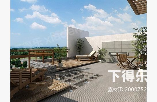 3dmax阳台风景贴图