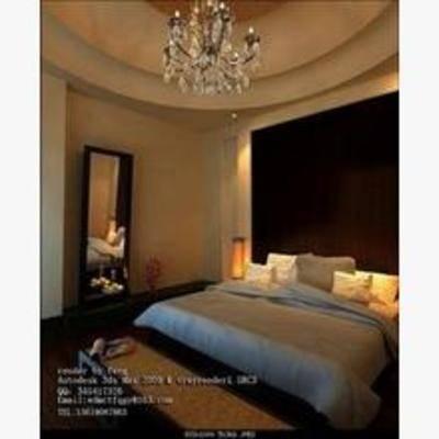 新中式卧室, 吊灯, 床, 镜子, 床头柜, 台灯, 花瓶