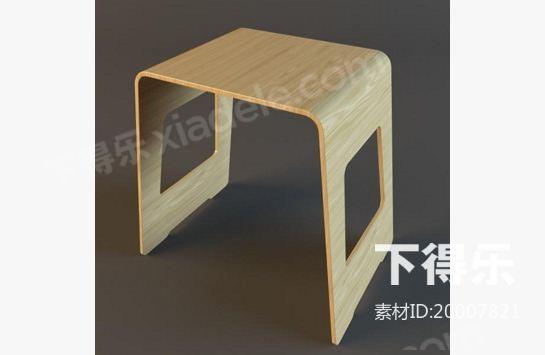 田园木凳方凳子 3d模型下载