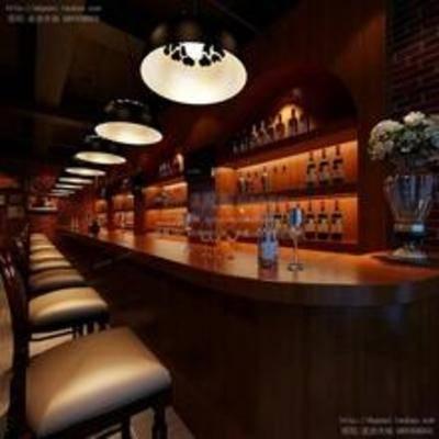 新古典, 酒吧, 吊灯, 吧椅, 吧台