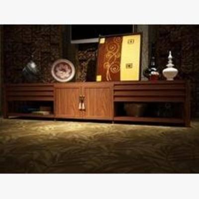 中式电视柜, 地柜式电视柜, 电视柜, 地柜