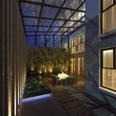 现代, 桌椅组合, 盆栽, 庭院