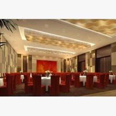宴会厅, 现代, 沙发, 餐桌, 盆栽