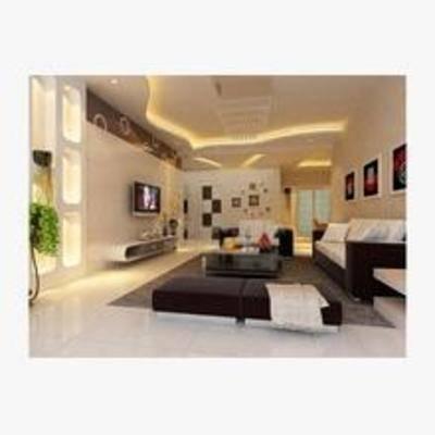 现代, 客厅, 沙发, 电视, 边柜