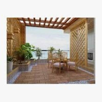 中式, 露台, 盆栽, 桌椅组合