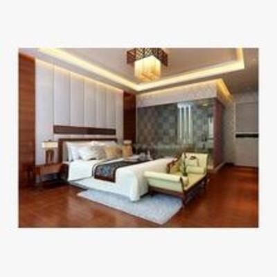 吸顶灯, 卧室, 台灯, 床, 床头柜, 沙发, 淋浴间, 新中式
