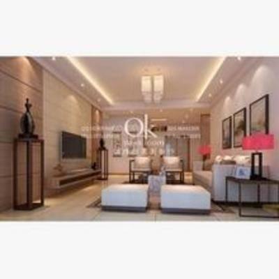 客厅, 吊灯, 边柜, 电视, 新中式