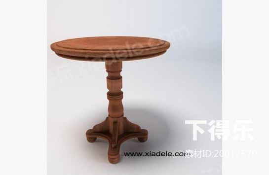 中式木质圆茶几 3d模型下载,