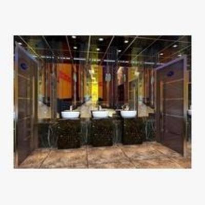 新古典, 工装, 洗手间, 吸顶灯, 洗手盆, 镜子