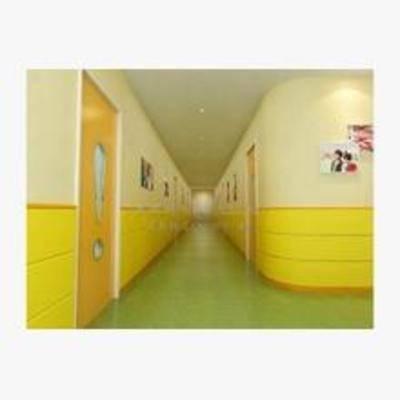 现代, 幼儿园, 走廊, 挂画