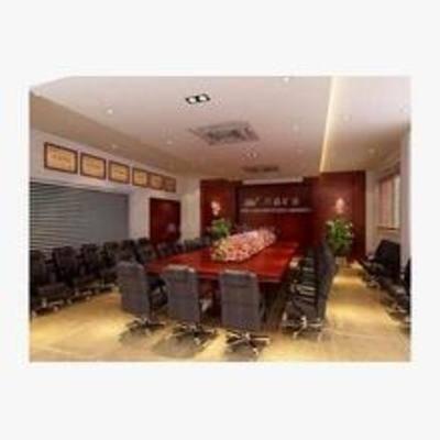 现代, 会议室, 单椅, 办公桌, 盆栽