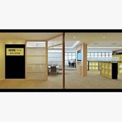 现代, 办公室, 置物柜, 办公桌, 吸顶灯