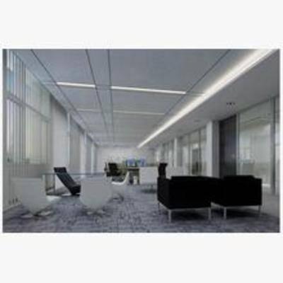 现代, 办公室, 单椅, 办公桌, 吸顶灯, 地毯
