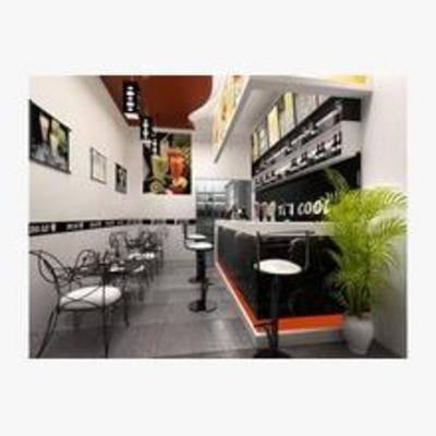 现代, 奶茶店, 挂画, 单椅, 盆栽, 吊灯, 桌几, 柜台, 吧椅
